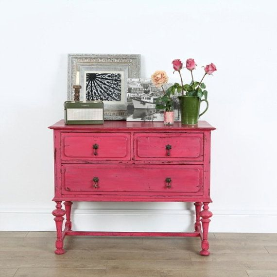 Bright pink painted upcycled mahogany chest of drawers