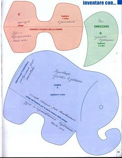 Elefante de tecido com molde - patchwork