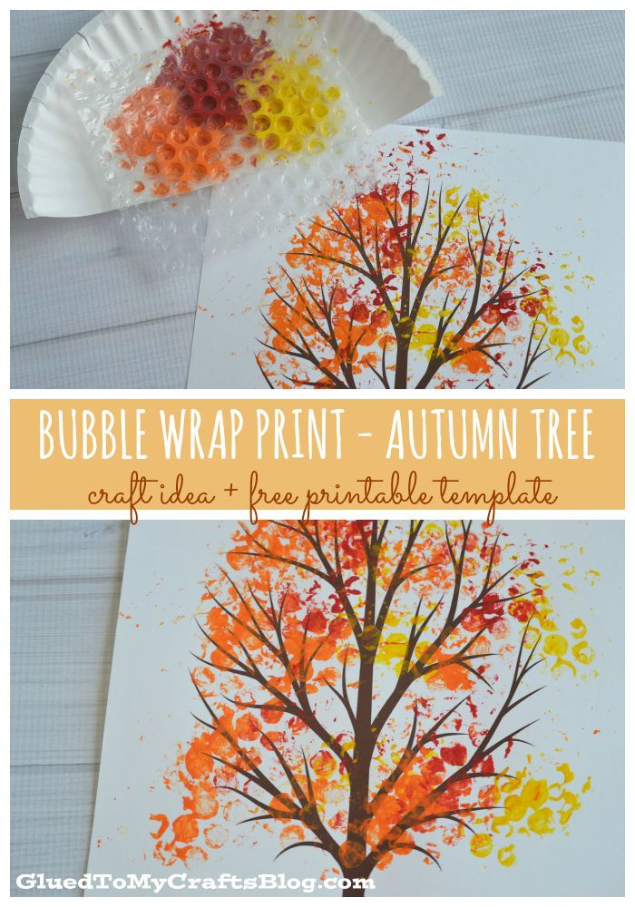 Herfst - Knutselen met kinderen - Bubble Wrap Print - Autumn Tree {w/free printable} - Glued to my Crafts