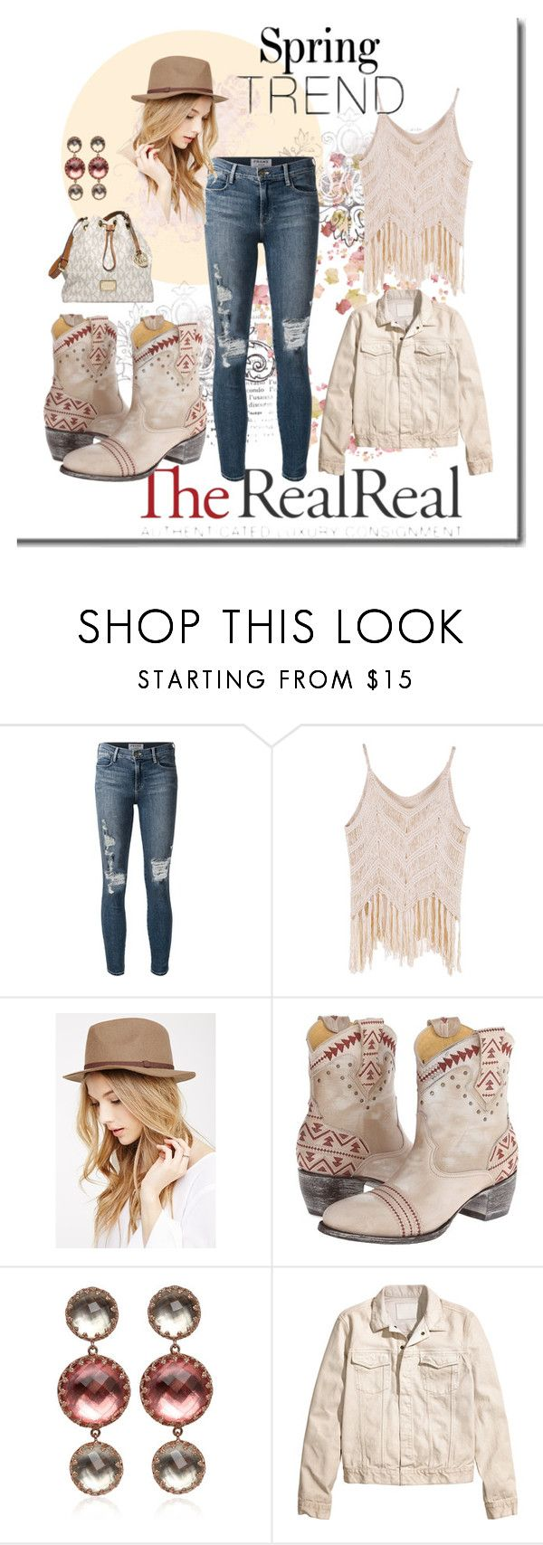 """""""Spring Trends With The RealReal: Contest Entry"""" by dawn-lindenberg ❤ liked on Polyvore featuring Frame, Forever 21, Old Gringo, Larkspur & Hawk and MICHAEL Michael Kors"""