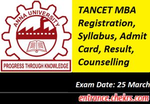 Tamilnadu Common Entrance Test TANCET MBA Registration, Dates, Syllabus, Admit Card, Result