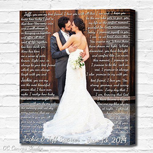 Wedding Lyrics Photo Custom Canvas Print. First Dance Lyrics, Vows, Poem, Quotes. Personal/Unique Wall Decor. Wedding Gift/Anniversary Gift/Christmas Gift. Welcome to OC Canvas Studio shop! Fresh up your walls with a Gallery Wrapped Custom Canvas Print! Customize Your living space, with colorful memories of life! This is a Museum Quality Canvas Print, not a plain paper or a poster. The art work is created on cotton canvas. All canvases are produced by hand from start to finish in our…