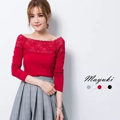[S$11.00](▼50%)MAYUKI - Long Sleeve Off-shoulder Top with Lace Detail-6020483-Winter