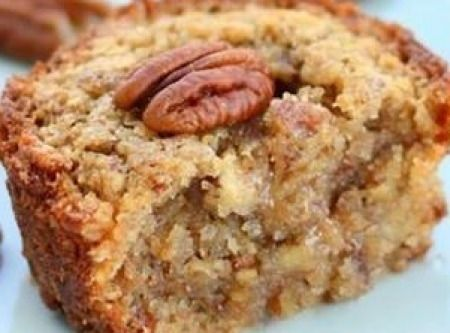 Pecan Pie Muffins Recipe 1 cup packed light brown sugar  1/2 cup AP flour 2 cups chopped pecans 2/3 cup butter,softened 2 eggs, beaten 350*,  generously grease 12 muffin cups or they will stick.  Bakers Joy recommended. Stir sugar,flour and pecans. Separate bowl beat eggs and butter together.  Now Mix ingreds until combined.   Spoon batter into muffin cups, about 2/3 full.  Bake 15-17 mins.  Run a knife around the edge of each muffin and pop it out.