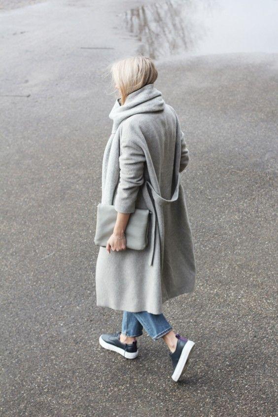 Grey coats, denim & sneakers