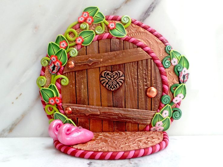 Fairy Door: Circular Wooden Doorway with Pink by MiniWhimsies