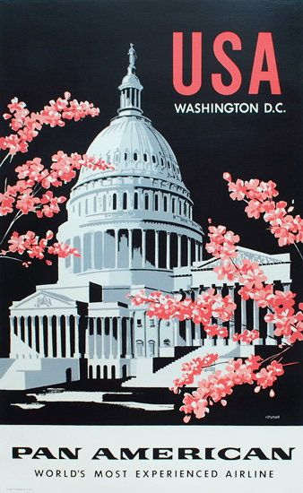 Original Travel Poster Pan Am Washington DC Amspoker Sik Screen Cherry Blossom