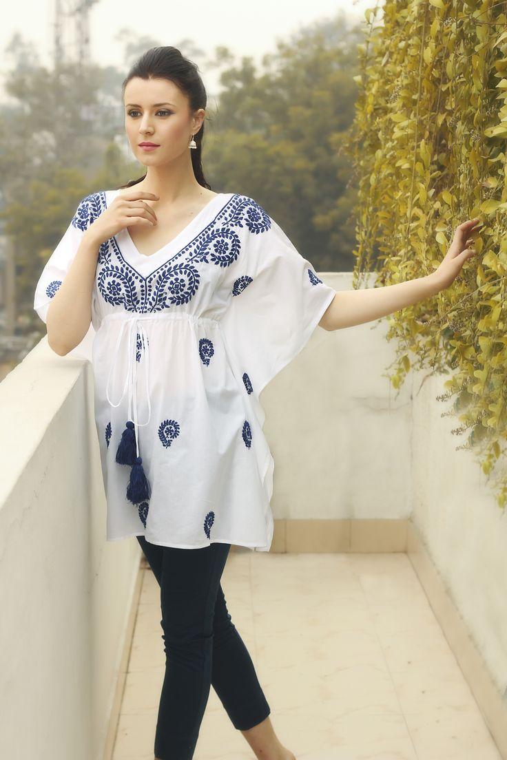 #chikankari #embroidery #lucknavi #women #fashion #white #blue #contemporary #summer #Fabindia