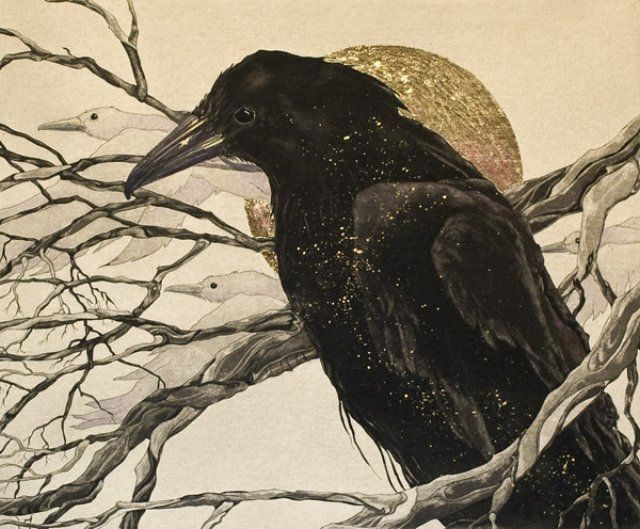 Beki Killorin, A Raven's Tale | Original Etching, Gold Leaf Embellishment