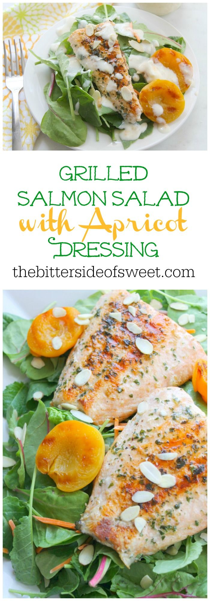 Grilled Salmon Salad with Apricot Dressing | The Bitter Side of Sweet