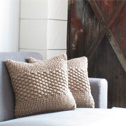 hand-knitted cushion