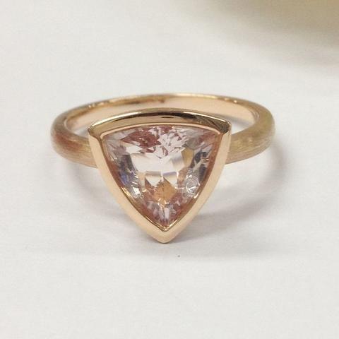 Trillion Morganite Engagement Ring 14K Rose Gold 9mm Solitaire Bezel Set - Lord of Gem Rings - 1