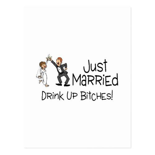 Funny Just Married Wedding Toast Postcard