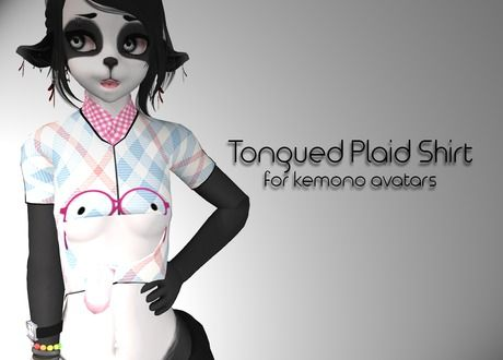 A tongued plaid shirt for kemono avatars in #SecondLife for only 50L! #Furry
