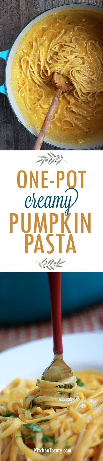 One Pot Creamy Pumpkin Pasta - Luxuriously creamy pumpkin pasta in 20 minutes! It's possible with this super-simple vegetarian one-pot pasta recipe.