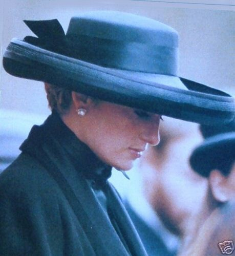 April 1st/1992: HRH Diana, Princess of Wales attending the funeral of their father, Johnny Spencer, 8th Earl Spencer died March 30,1992.