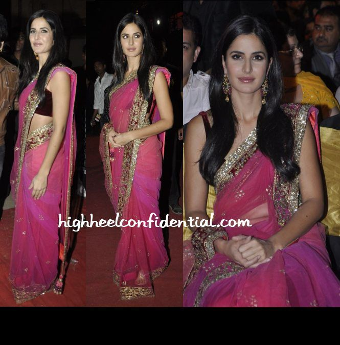 "A Surprise To See Katrina Wearing Traditional Outfits !  It's a surprise to see Katrina wearing traditional outfits as she is probably seen wearing western outfits and more and more casual wears.  Here in this post I have shared two of her recent photos wearing beautiful traditional outfits one is Pink Sari with lots of ""Dapka"" and ""kora"" work on it especially on the borders and also designer jewellery."