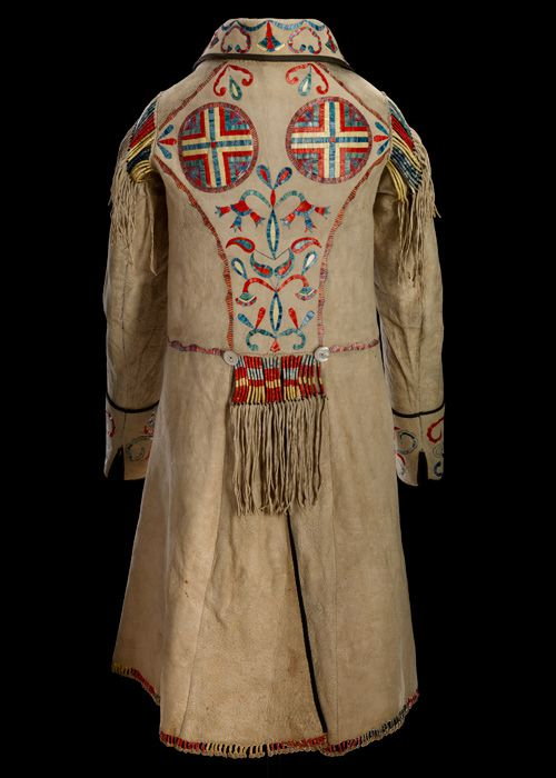 Cree Métis coat  1874  Red River  Hide, mother of pearl buttons, silk ribbon, porcupine quill, dyes  116 x 97 cm