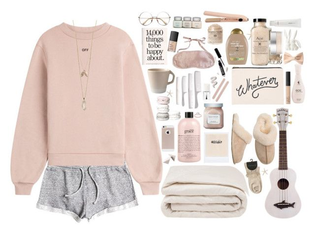 """Relaxing Day"" by ac-awesome ❤ liked on Polyvore featuring Roxy, Off-White, philosophy, Frette, Laura Mercier, Christian Dior, Muji, ALPHABET BAGS, Jars and kumi kookoon"