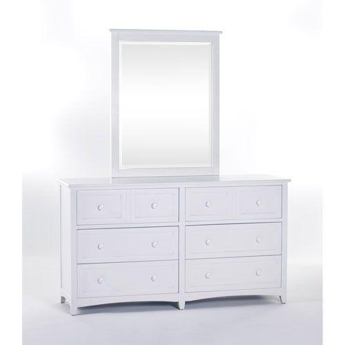 School House White 6 Drawer Dresser with Mirror
