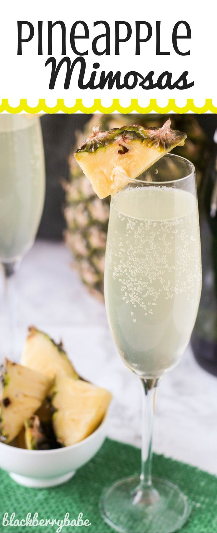 "Pineapple Mimosas | It is a fruity, tropical twist on traditional mimosas! So easy, with just three common ingredients. <a href=""/michelle_goth/"" title=""Blackberry Babe"">@Blackberry Babe</a>"