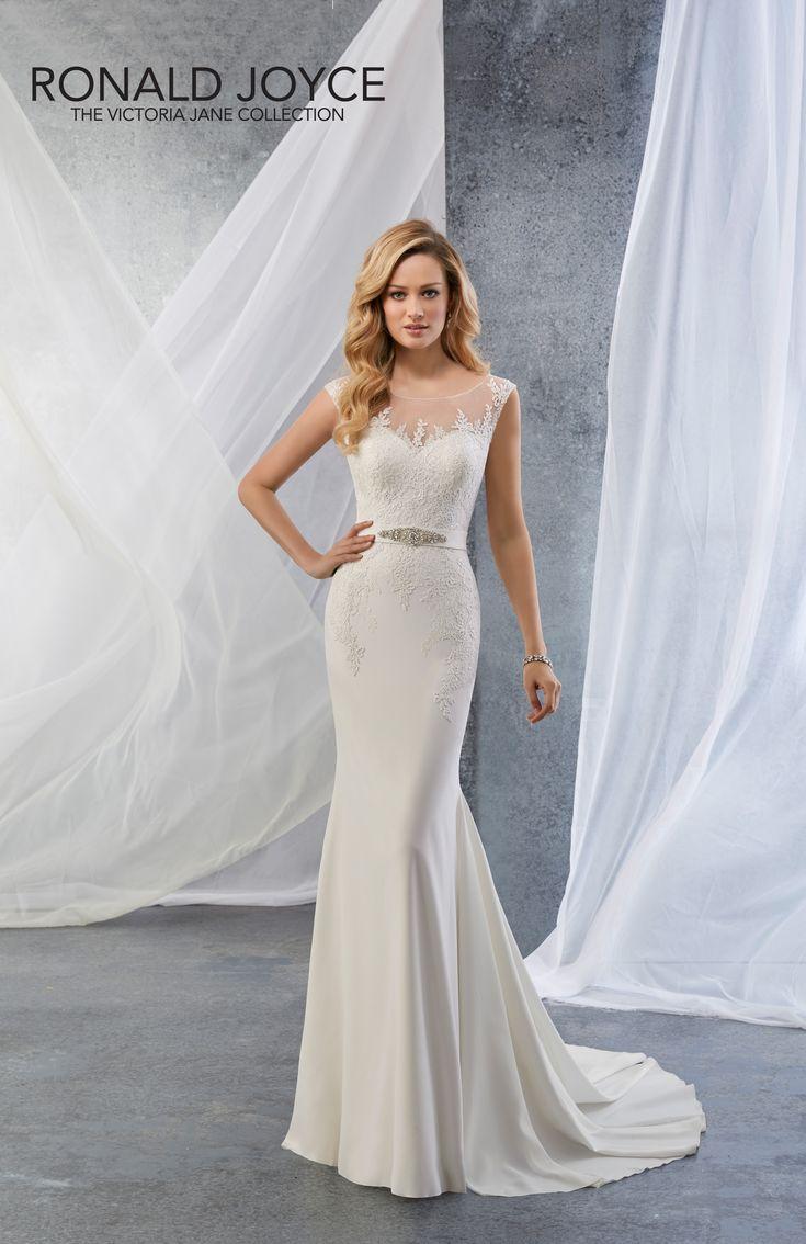 Slim Fitting Crepe Wedding Dress Stunning Illusion Neckline At The Back Crystal Detail On Belt