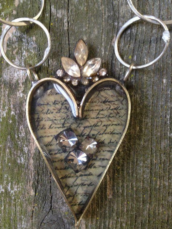 Soldered Heart Bezel Necklace