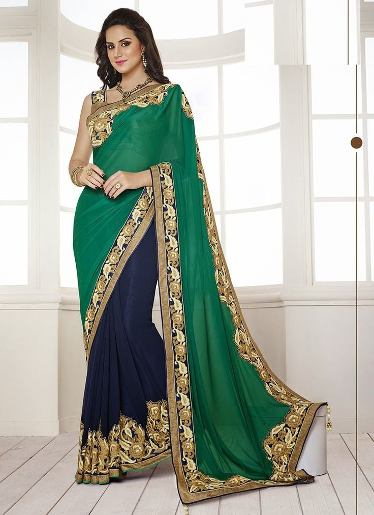 Young and vivacious is the perfect description for this resplendent blue and green faux georgette designer half and half saree . This gleaming designer half and half saree is enriched with patch borde...