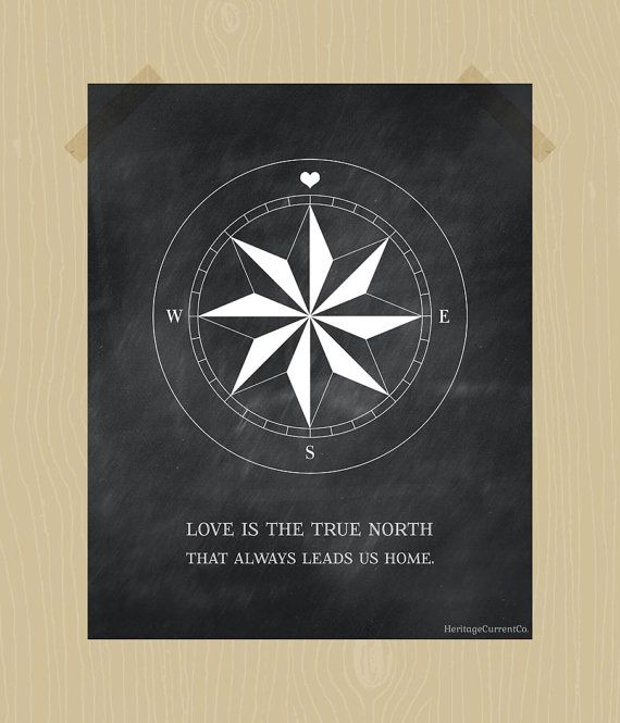 Compass Print True North Love Quote Printable Digital Print 8 x 10 Chalkboard Print Nursery Printable Blackboard Print White Family Print