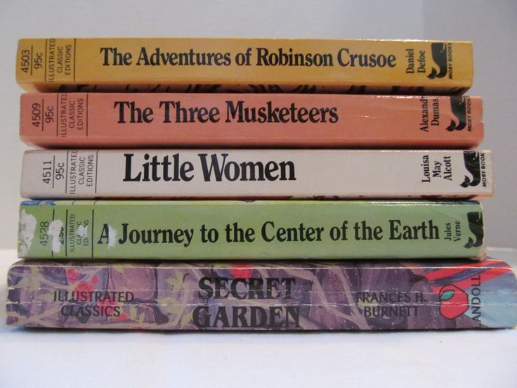 ILLUSTRATED CLASSIC BOOKS -Robinson Crusoe, Three Musketeers, Little Women, Journey to the Center of the Earth, Secret Garden by CellarDeals on Etsy