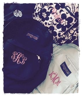 Monogrammed backpacks galore!!!