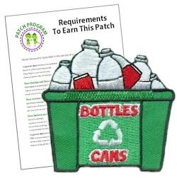 Recycling Bottles & Cans Patch.  Your Girl Scouts can collect bottles and cans to keep them out of our landfill. Our recycling patch will be a great addition to their vests after the project.  Free download with suggested requirements for each Girl Scout level. Available at MakingFriends.com
