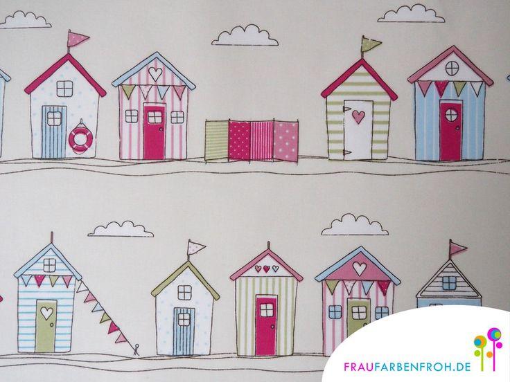 Designerstoffe USA - WACHSTUCH Strandhaus Beach hut pink 2R Maritim - ein Designerstück von FrauFarbenfrohStoffe bei DaWanda