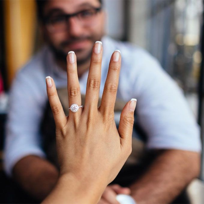 Brides.com: 32 Amazing Engagement-Ring Selfies A selfie with a seriously cool manicure.Photo: Emily Weiss via Instagram
