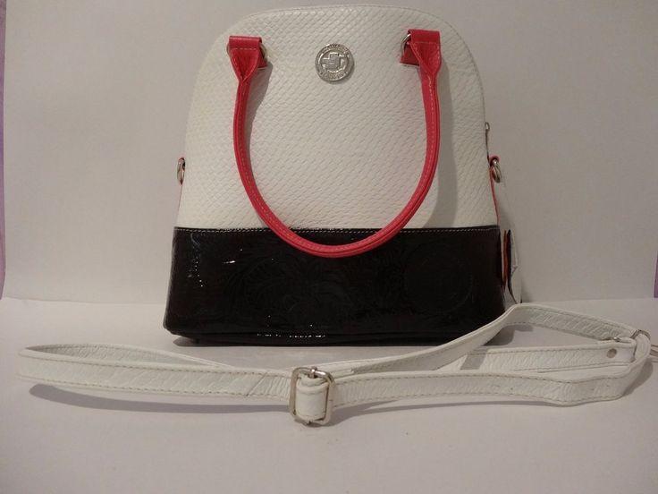 NWT THE COLOMBIAN TECHNIQUE Embossed Leather Satchel Shoulder Bag Black & White #TheColombianTechnique #Satchel