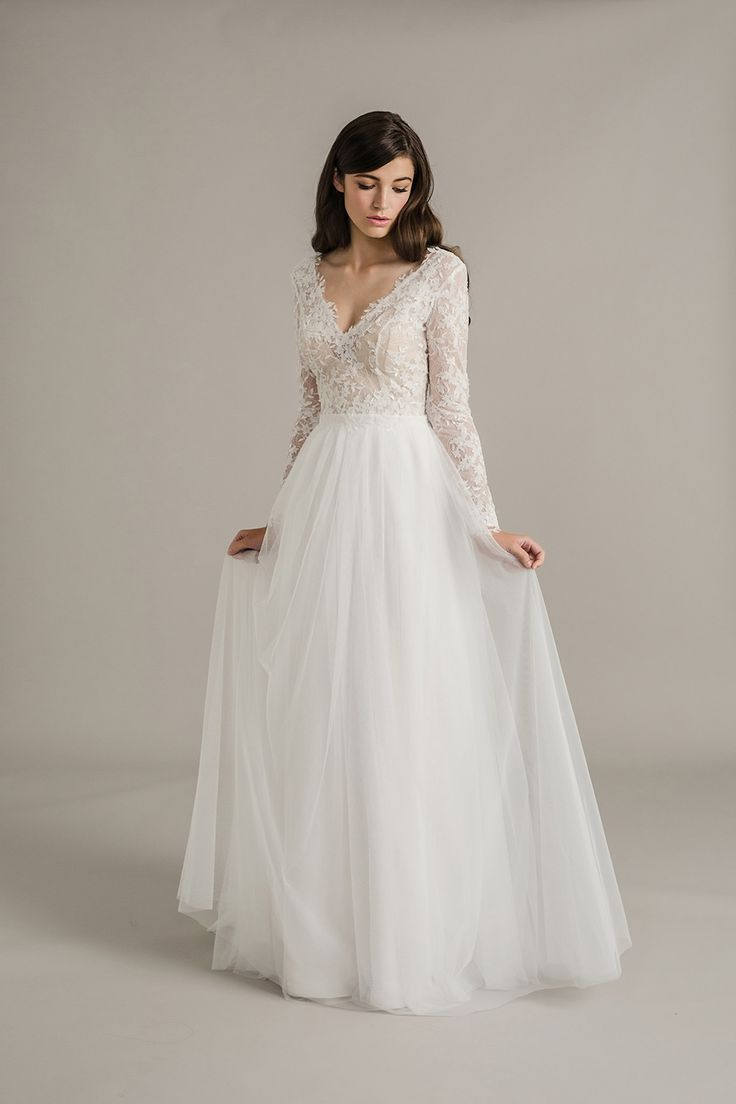 Soft wedding dress with long sleeve lace upper