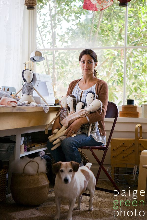 Doll maker/designer Jess Brown in her studio. Image c. Paige Green Photography, 2008.