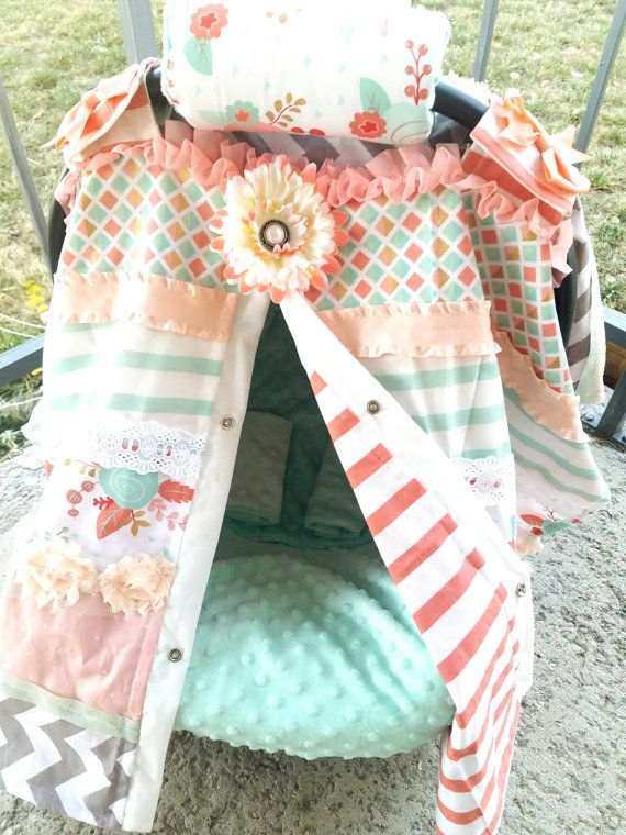 Canopy-Liner-Head Support-Arm Cushion-and Strap Covers for Infant Carrier..Mint Coral Gold & 212 best Carseat Canopy Baby Items images on Pinterest | Aqua ...