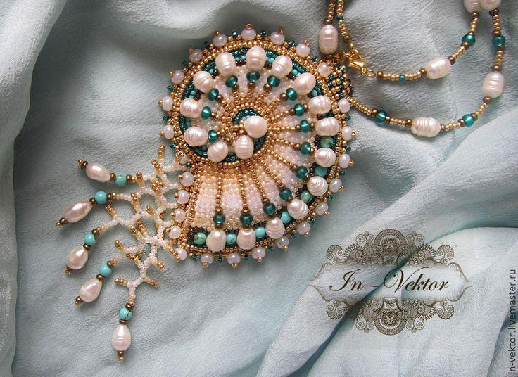Наутилус - золотой,кулон ракушка,наутилус,кулон с жемчугом,кулон с бирюзой - utrolig smukt vedhæng i form af fossil dog lavet i perler