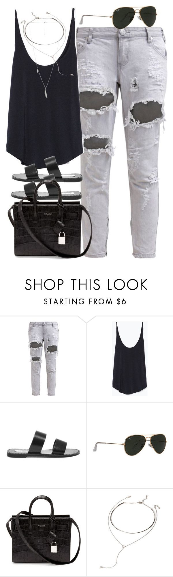 """Untitled #626"" by theradmoons ❤ liked on Polyvore featuring OneTeaspoon, Zara, Steve Madden, Ray-Ban, Yves Saint Laurent and Forever 21"
