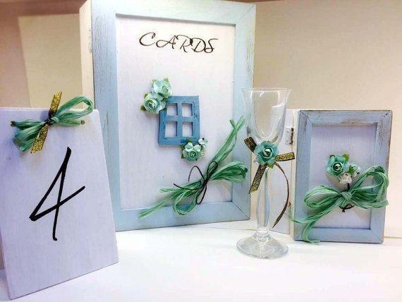 Wedding set aqua & white Wedding ring box by VictoriaWeddingArt