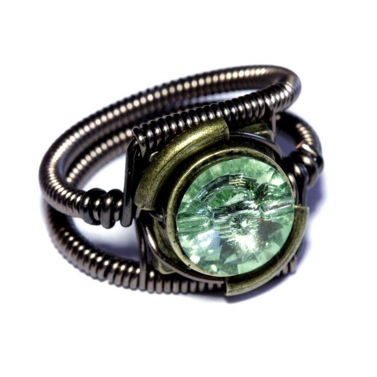 Steampunk Jewelry - RING - Chrysolite Green Swarovski Crystal (Custom size available - see description). $40.00, via Etsy.