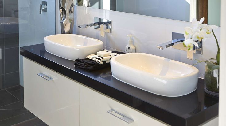 BATHROOM: The contrast of charcoal, black and white tones creates a simple and chic space. Visit our Kodak Moments Lookbook style here: http://www.metricon.com.au/get-inspired/lookbook/kodak-moments
