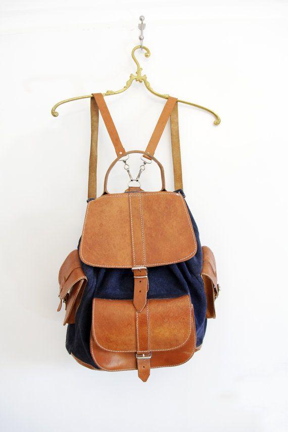 Vintage backpack / navy and brown leather rucksack by nemres,
