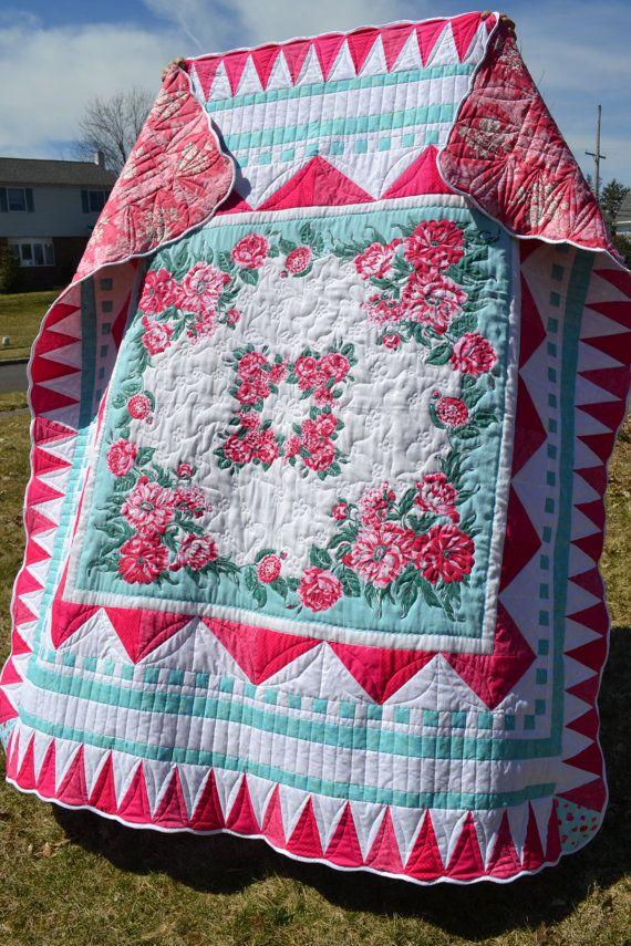 Retro Tablecloth Handmade Quilt Aqua And Pink Retro Cottage Chic French  Cottage Vintage Tablecloth Aqua And Red Rose Floral Double Quilt