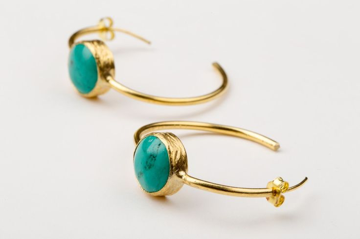 No Bounderies Earrings_Turquoise - Gold plated