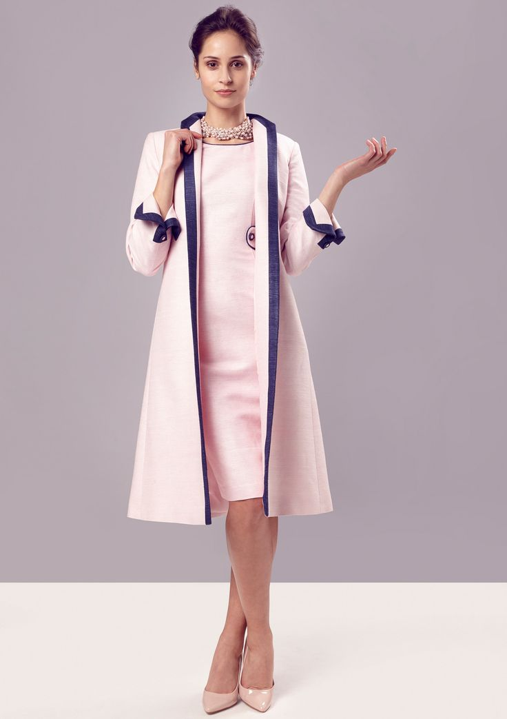 Dress Coat In Petal Pink Navy Raw Silk Tussah Lorna