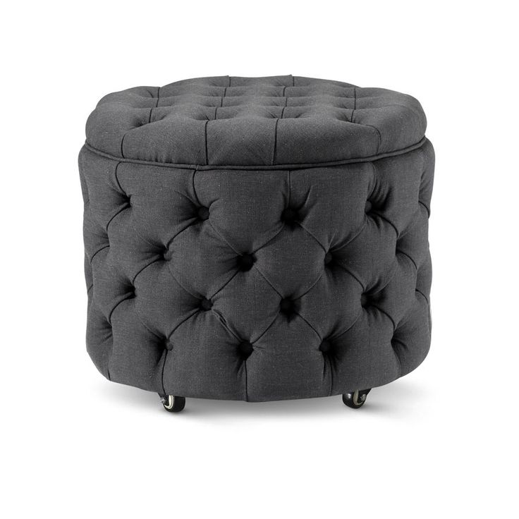Whether you use it as a foot stool or side table the Emma Storage Ottoman Small in Charcoal is a perfect accent piece for any living room and has inner stora...