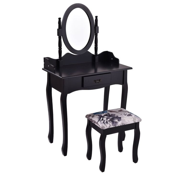 Costway Vanity Wood Makeup Dressing Table Stool Set Jewelry Desk bathroom W/ Drawer &Mirror Black
