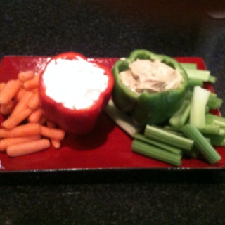 Red pepper with French onion dip, green with hummus. We also had chips and pita chips - mmmmm!!